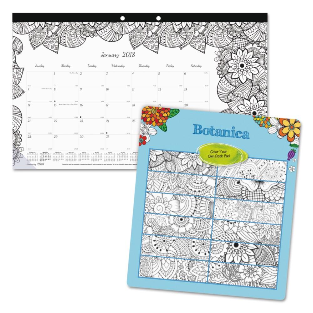 2018 Blueline DoodlePlan Desk Calendar with Coloring Pages 17 3/4 x 10 7/8, Black- 2018