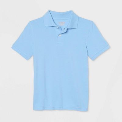 Boys' Short Sleeve Stretch Pique Uniform Polo Shirt - Cat & Jack™ Light Blue