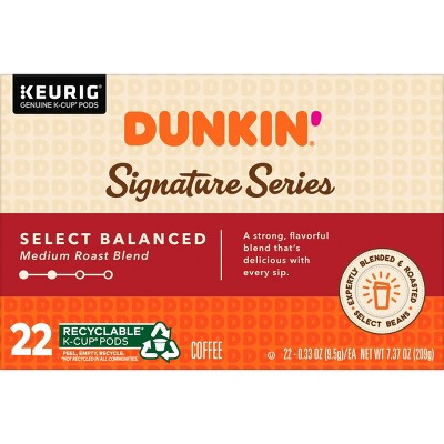 Dunkin' Donuts Balanced Blend Medium Roast Coffee - Keurig K-Cup Pods - 22ct