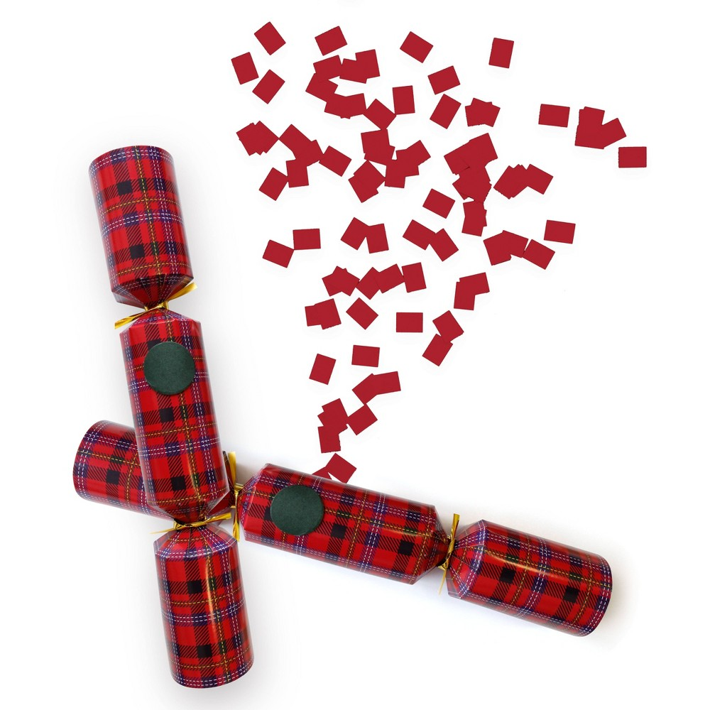 Image of 6ct Confetti Popping Tartan Christmas Crackers Party Favours - Crackertoa, Red Green