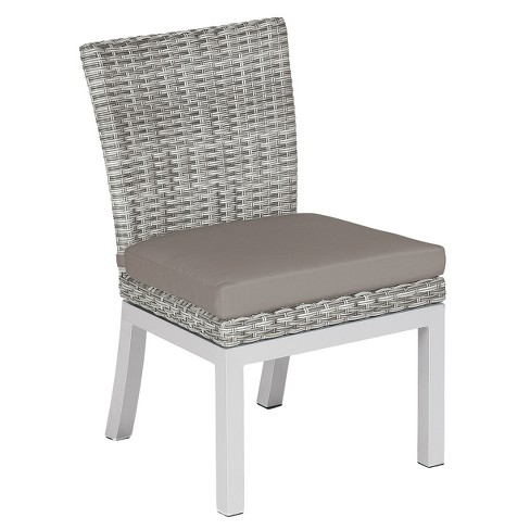 Travira Set of 2 Woven Patio Dining Chairs - Argento Resin Wicker - Powder Coated Aluminum Legs - Stone Polyester Cushion - Oxford Garden - image 1 of 1