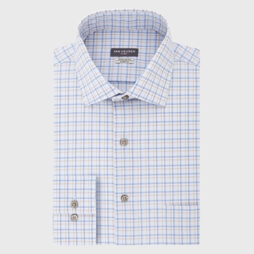 Men 39 S Regular Fit Long Sleeve Flex Button Down Shirt Van Heusen Blue Basket Weave 16 5 34 35