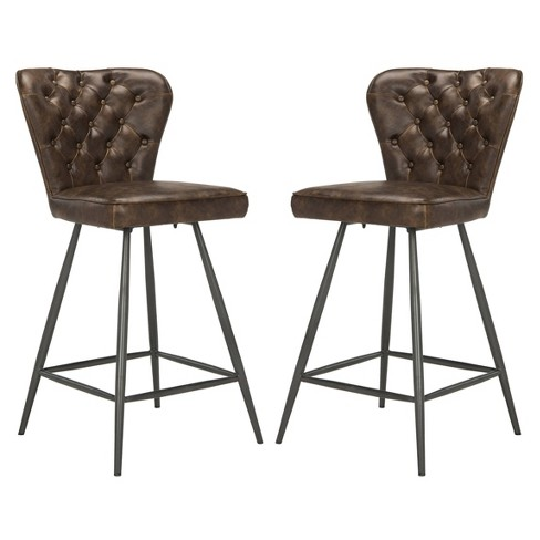 Brilliant 26 Ashby Mid Century Modern Leather Tufted Swivel Counter Stool Safavieh Cjindustries Chair Design For Home Cjindustriesco