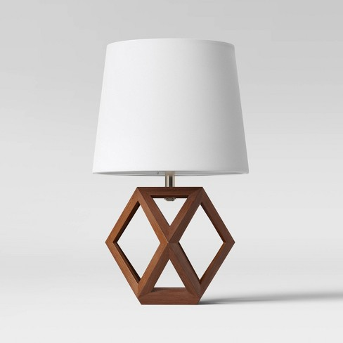 Geometric Wood Figural Accent Lamp Brown - Threshold™ - image 1 of 3