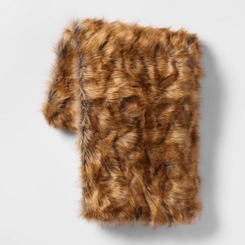 Faux Fur Throw Blanket Brown Threshold