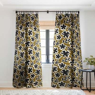 Alisa Galitsyna Florals on Olive Background Curtain Panel - Society 6