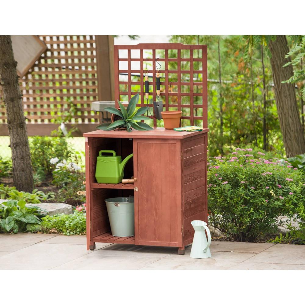 Image of HardwoodPotting Table With Storage - Brown - Leisure Season