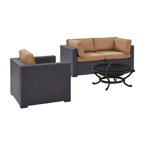 Biscayne 4pc All-Weather Wicker Patio Seating Set w/ Fire Pit - Mocha - Crosley - image 1 of 3
