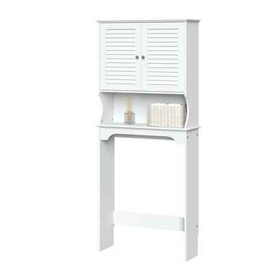 Over Toilet Space Saver Cabinet with Shutter Doors White