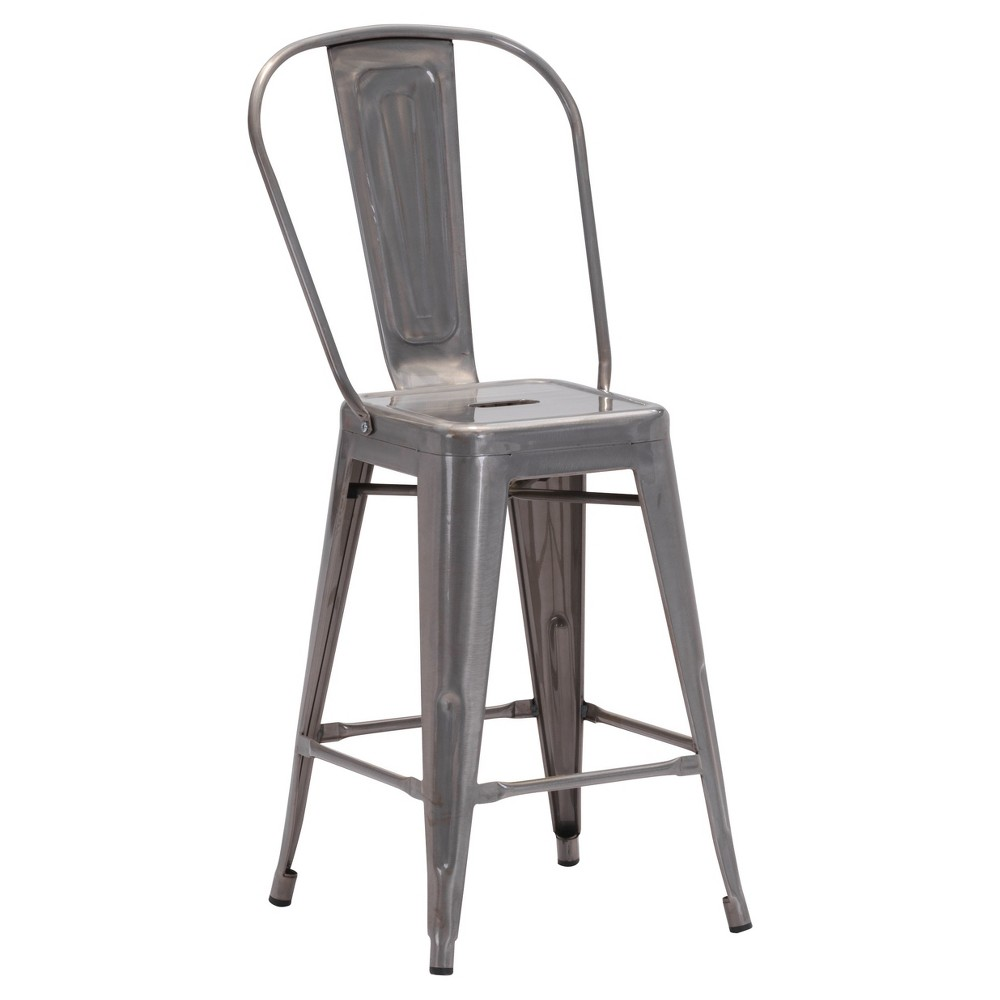 Industrial Steel Gunmetal (Grey) Counter Chair (Set of 2) - Zm Home