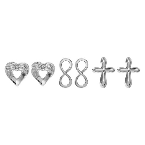 0.04 CT. T.W. Round Cut Cubic Zirconia Pave Set 3-Pair Earring Set in Sterling Silver - Silver - image 1 of 6