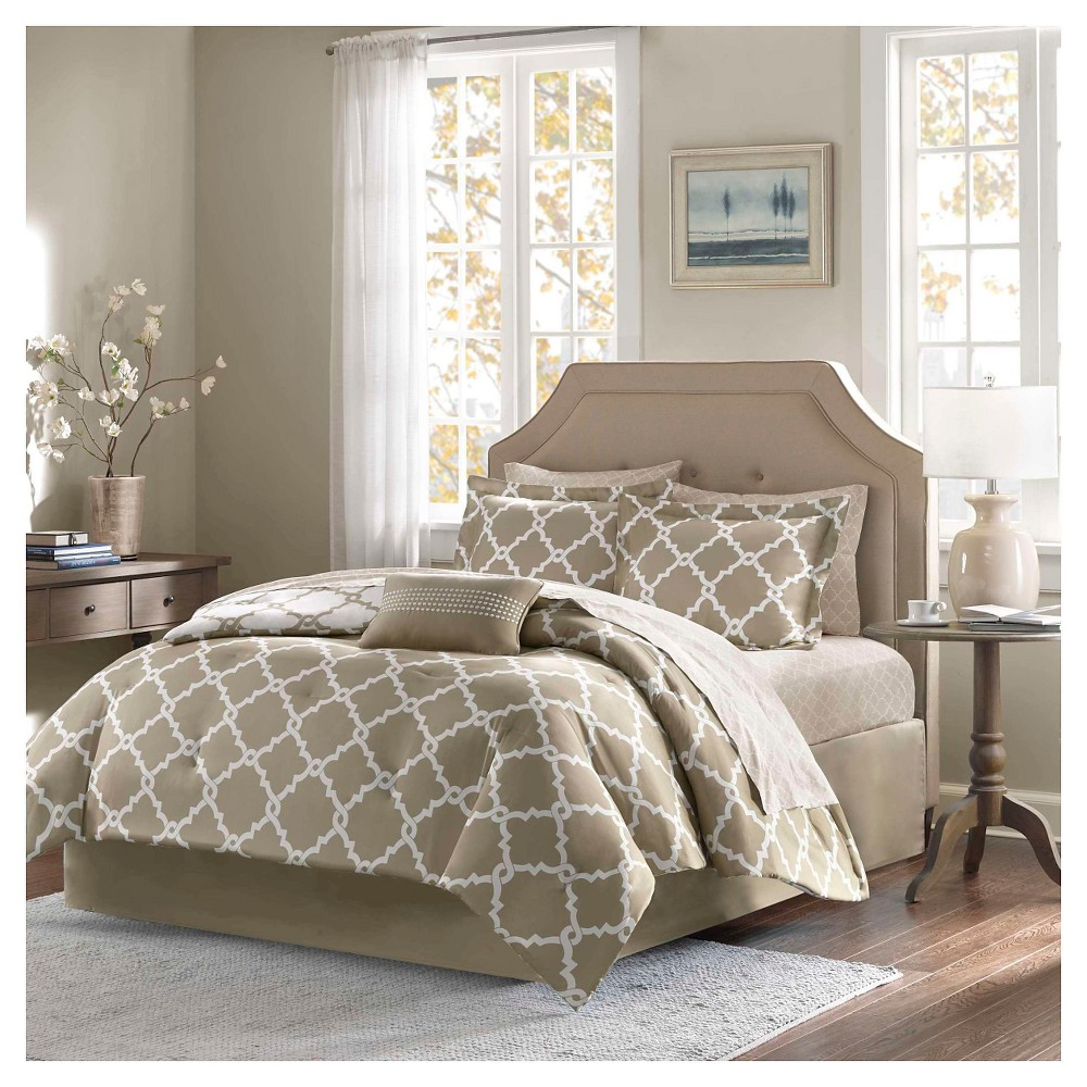 Image of Taupe Becker Complete Multiple Piece Comforter and Sheet Set (Full) - 9 Piece