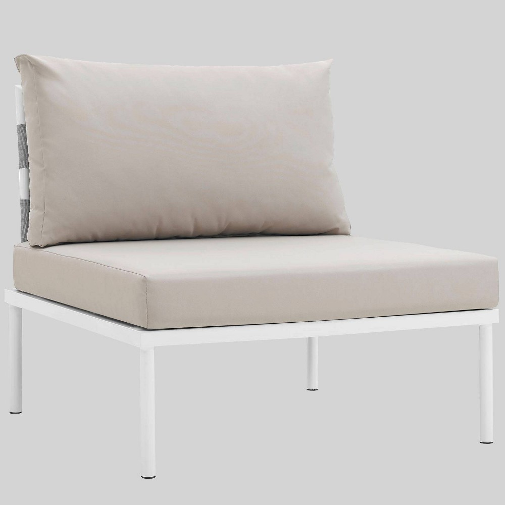 Harmony Aluminum Outdoor Patio Armless Chair - Beige - Modway