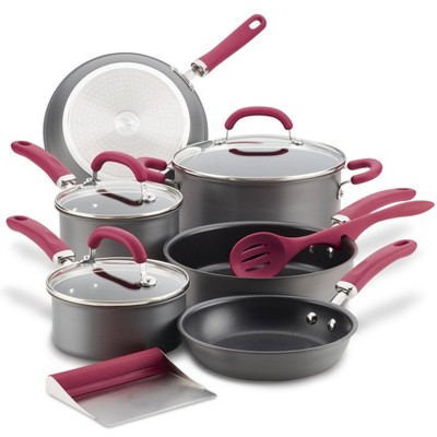 Rachael Ray Create Delicious 11pc Hard Anodized Nonstick Cookware Set Burgundy Handles