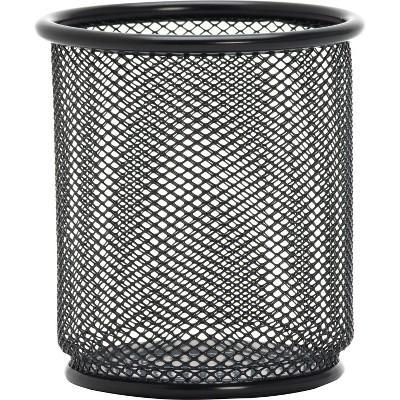 "Lorell Steel Pencil Cup 3-1/2""x3-7/8"" Black Mesh 84149"