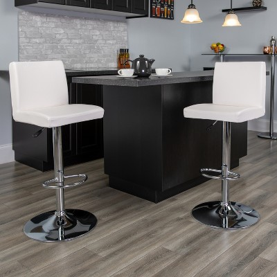 Flash Furniture Contemporary Vinyl Adjustable Height Barstool with Panel Back and Chrome Base