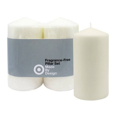 "6"" x 3"" 2pk Unscented Pillar Candle Set - Made By Design™"