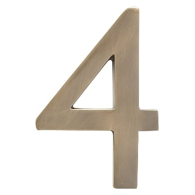 """Architectural Mailbox 4"""" Cast Floating House Number 4 Antique Brass"""