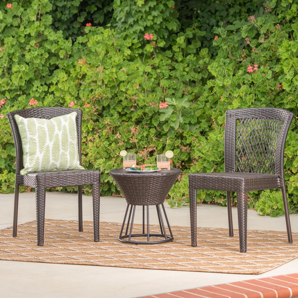 Remy 3pc Wicker Chat Set - Multibrown - Christopher Knight Home, Brown