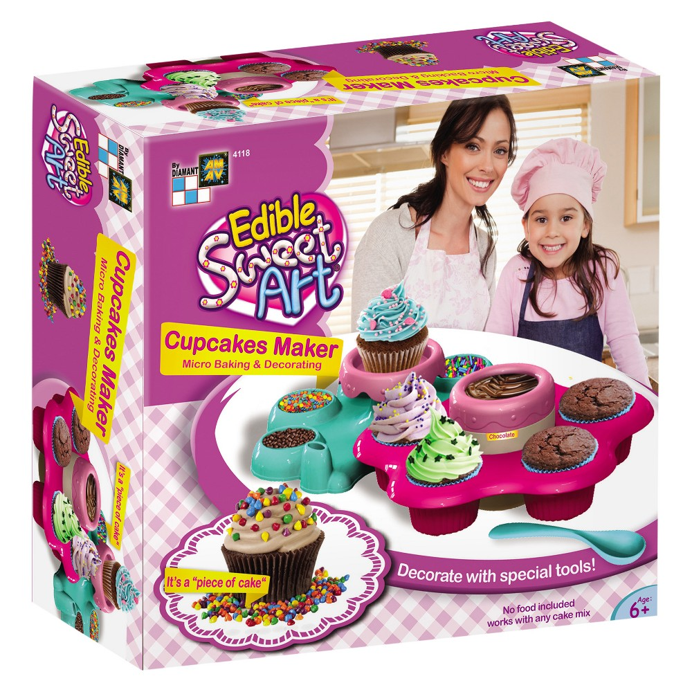 Amav Cupcake Maker, Real-Food Appliances Exciting new microwave bakeware activity set! Now every child can bake tasty cupcakes within 30-seconds. Includes all vital tools needed for baking. Note - does not include food materials. Age - 6 and up. Warning: Choking Hazard -- Small parts. Not for children under 3 yrs. Gender: Unisex.