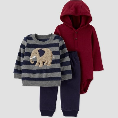 Baby Boys' 3pc Bodysuit,Walrus Crewneck Top & Bottom Set - Just One You® made by carter's Blue/Gray/Red Newborn