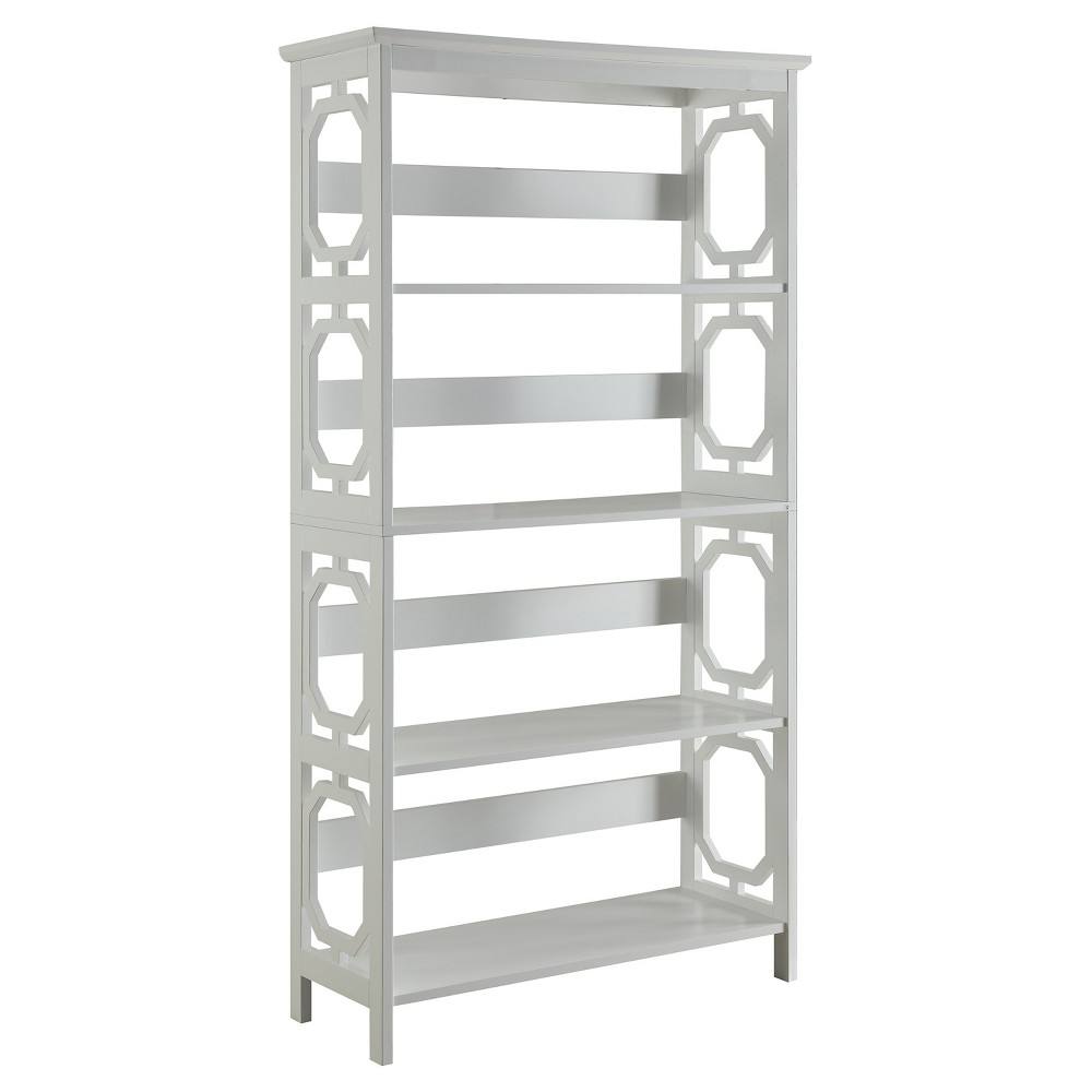 59.75 Omega 5 Tier Bookcase White - Convenience Concepts