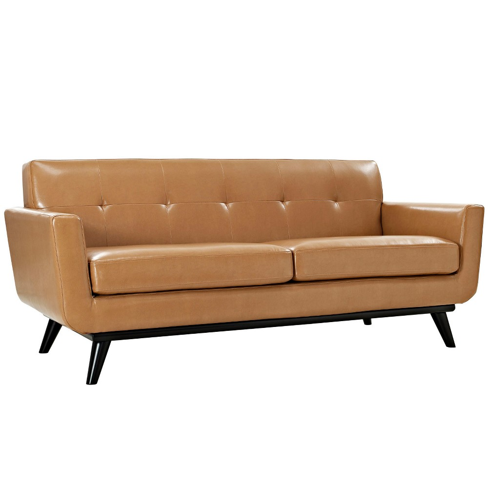 Engage Bonded Leather Loveseat Tan - Modway