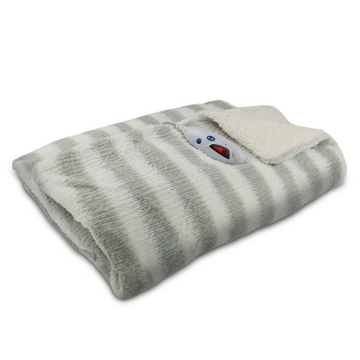 "Faux Fur with Sherpa Electric Throw Blanket (62""x50"")(50""x62"")Gray & White Stripe - Biddeford Blankets"