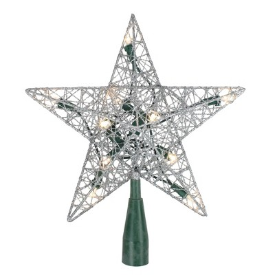 "Northlight 9"" Pre-Lit Silver Wire Star Christmas Tree Topper - White LED Lights"