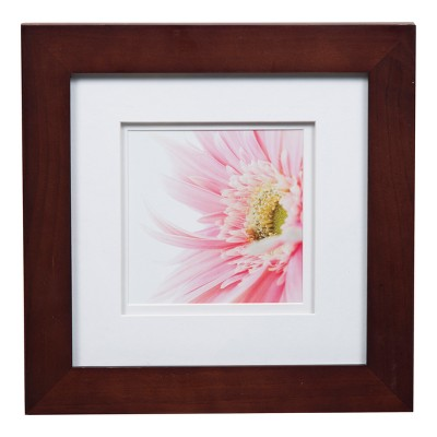 """Single Picture 8"""" x 8"""" Wide Frame with Double Mat to 5"""" x 5"""" Walnut/White - Gallery Solutions"""