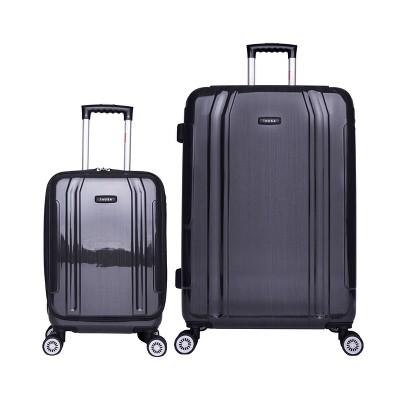 "InUSA SouthWorld 2pc Hardside Spinner Luggage Set (19""&27"")- Dark Gray Brush"