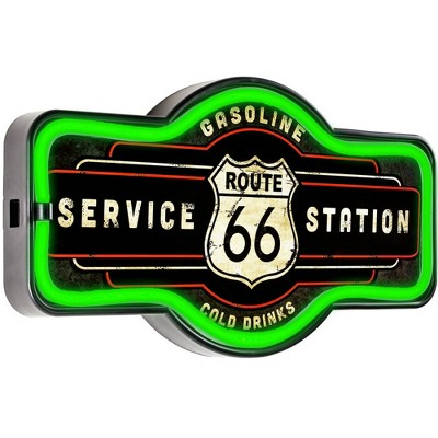 ROUTE 66 ILLUMINATED SIGN ROAD TRIP AMERICA INTERSTATE WALL LIGHT LED GARAGE