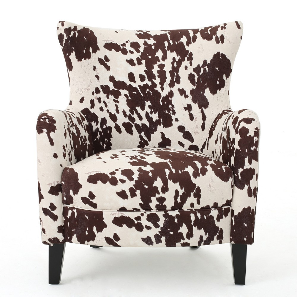 Arabella New Velvet Club Chair - Milk Cow - Christopher Knight Home, Brown