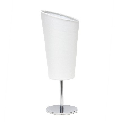 Mini Table Lamp with Angled Fabric Shade White - Simple Designs