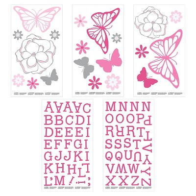 Wall Decal Nursery Pink Butterfly