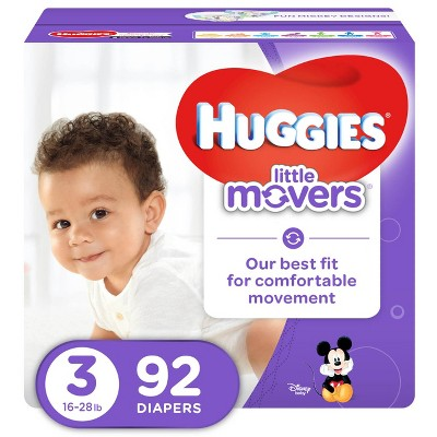 Huggies Little Movers Diapers - Size 3 (92ct)