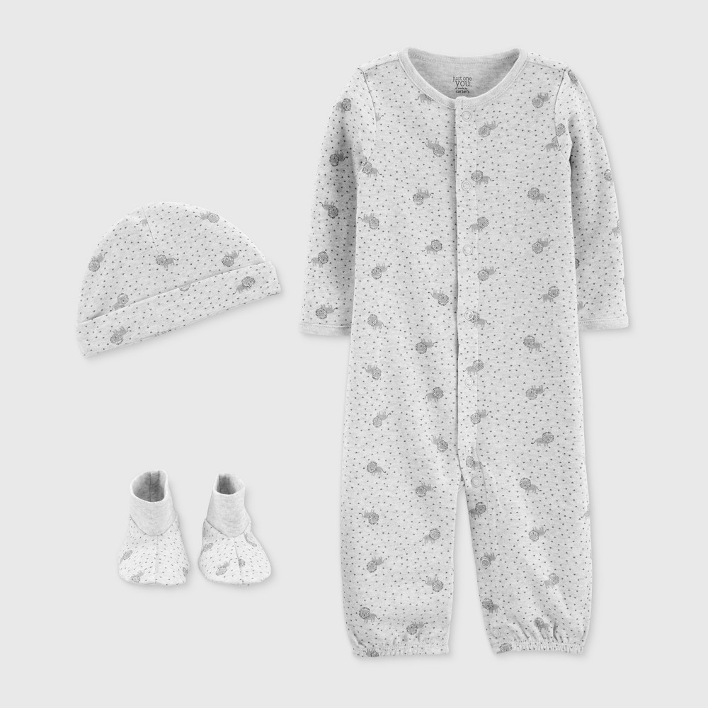 Baby Boys' 3pc Nightgown - Just One You made by carter's Gray Preemie
