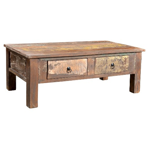 Reclaimed Wood Coffee Table And Double Drawers 16h X 43w 24d Natural Timber