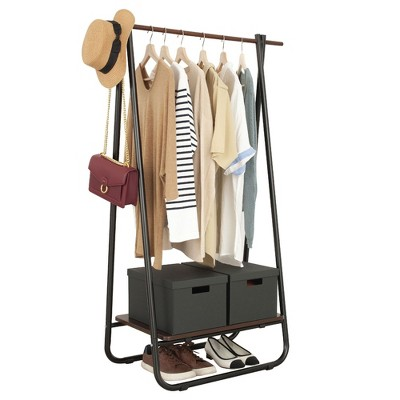 Metal Clothing Garment Rack with Wood Storage Shelf, Freestanding Closet, White and Light Brown
