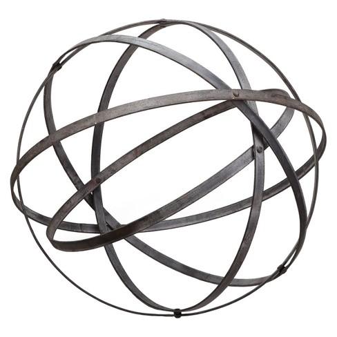 "15.5"" Metal Medium Outdoor Sculpture - Almost Black - Foreside Home & Garden - image 1 of 1"