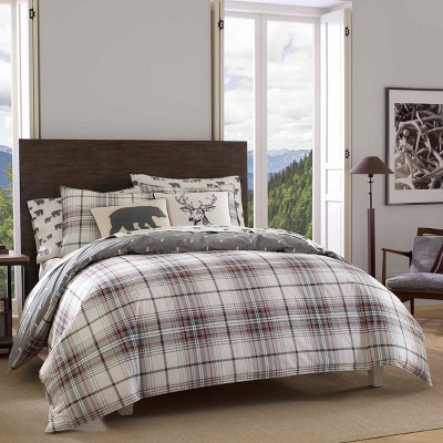 Alder Plaid Duvet Cover Set Charcoal - Eddie Bauer