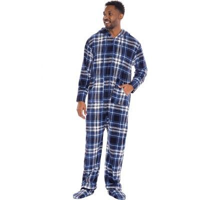 Alexander Del Rossa Men's Warm Fleece One Piece Footed Hooded Pajamas