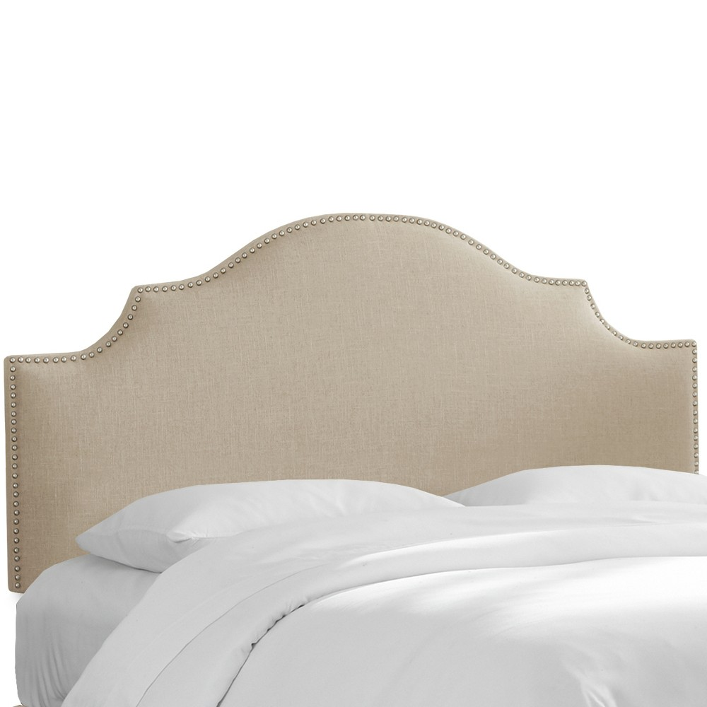 Nail Button Notched Headboard Twin Linen Putty - Threshold