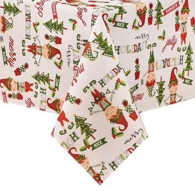 Elf Merry Holiday Naughty or Nice Jolly Christmas Fabric Tablecloth