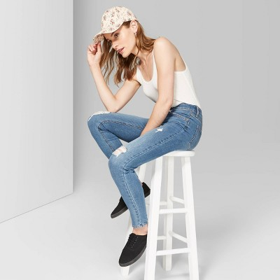 Women's Super-High Rise Distressed Skinny Jeans - Wild Fable™ Medium Wash