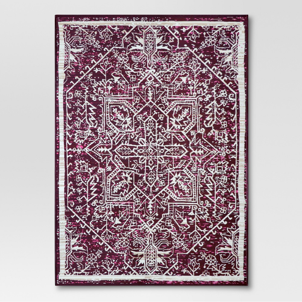 Distressed Medallion Berry Outdoor Rug - 5'x7' - Threshold, Red
