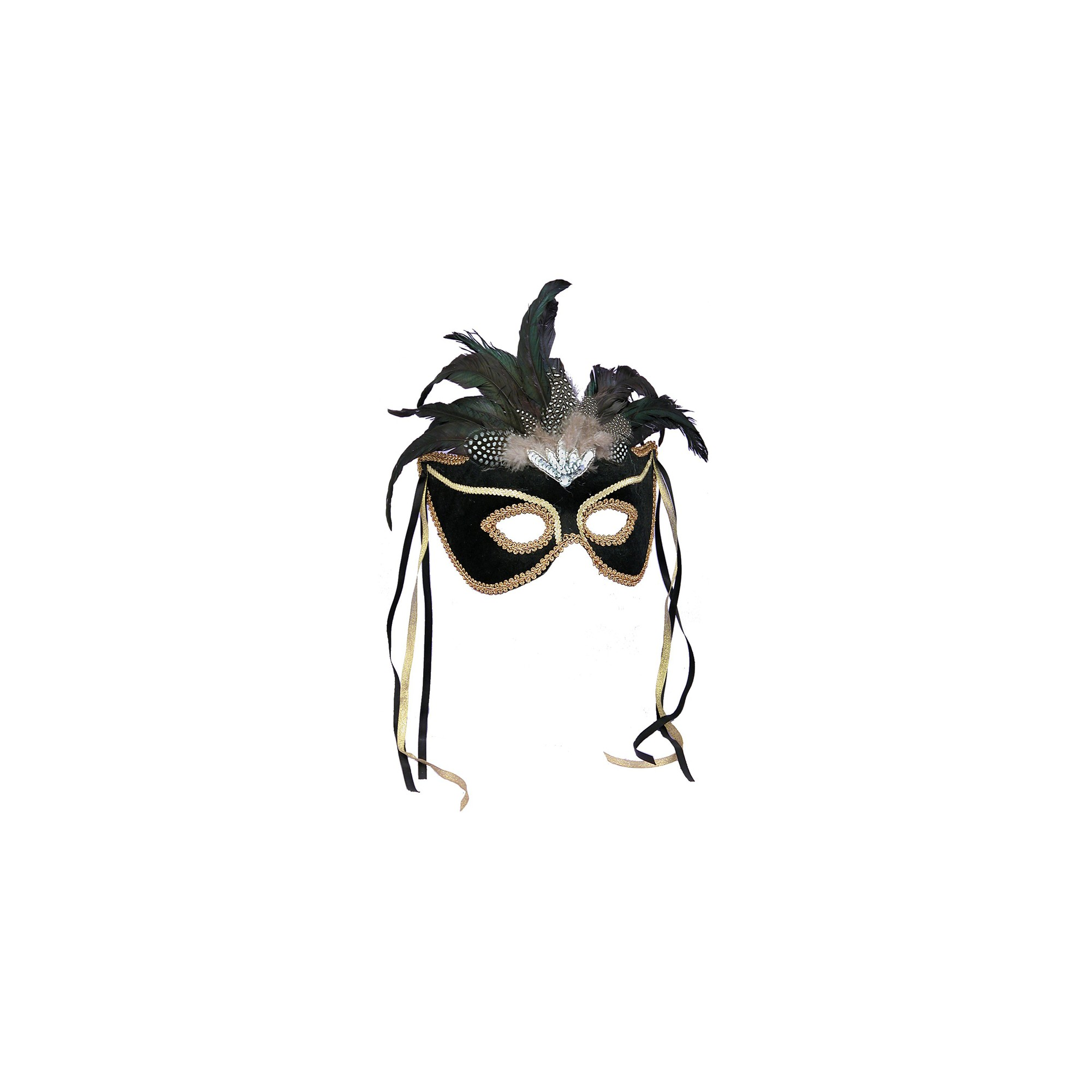 Adult Mardi Gras Feather Mask Black, Adult Unisex