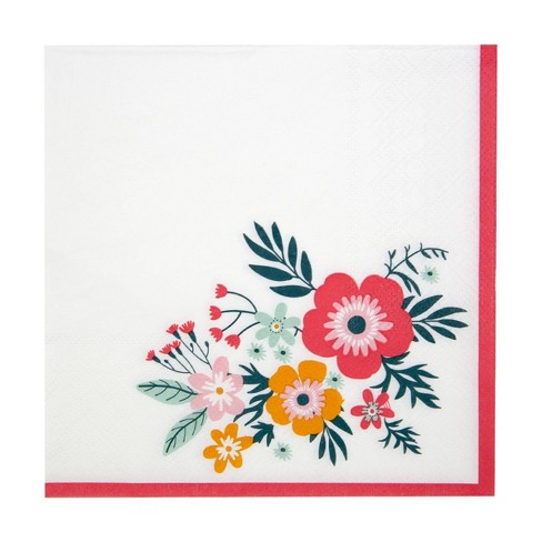 """13"""" 20pk Eco Party Printed Floral Disposable Napkins - image 1 of 4"""