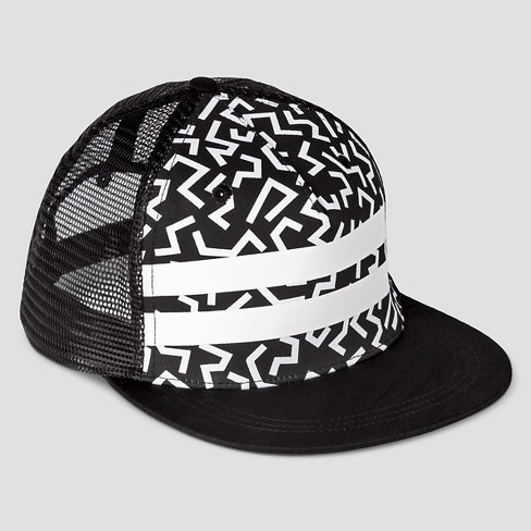 Boys' Geo Stripe Baseball Hat - Art Class™ Black/White One Size - image 1 of 2