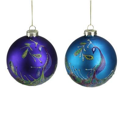"NORTHLIGHT 2ct Regal Peacock Glass Ball Christmas Ornament Set 4"" - Purple/Blue"